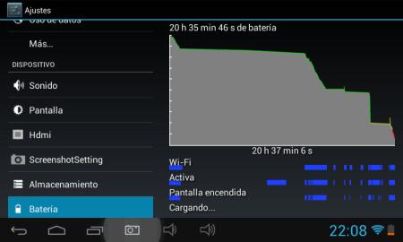 Segunda carga de la batería con 3 horas y media de uso de la pantalla.