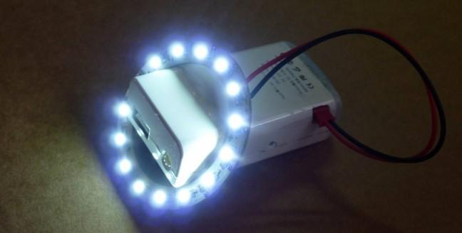 aro de leds y bateria USB 5V